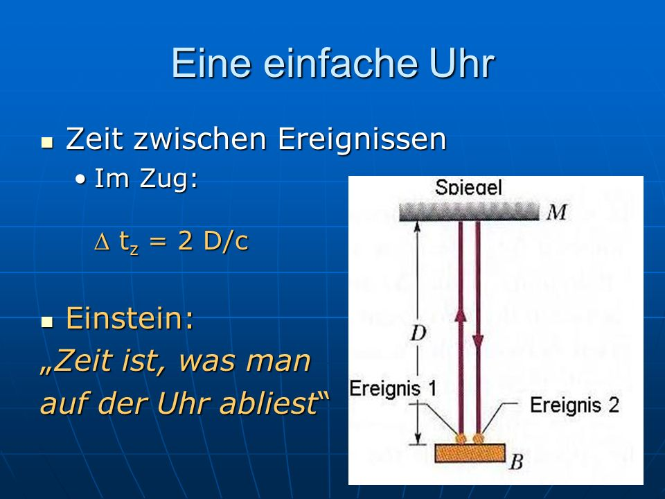 Eine einfache Uhr Zeit zwischen Ereignissen Einstein: