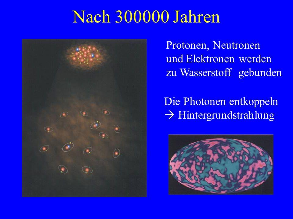 Nach 300000 Jahren Protonen, Neutronen und Elektronen werden