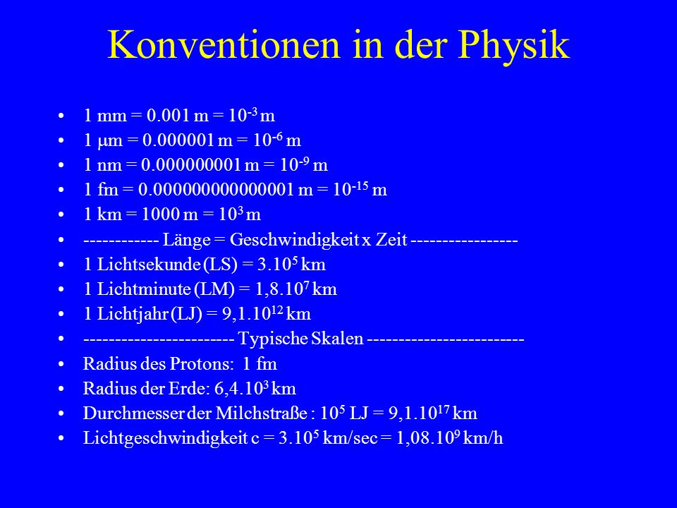 Konventionen in der Physik
