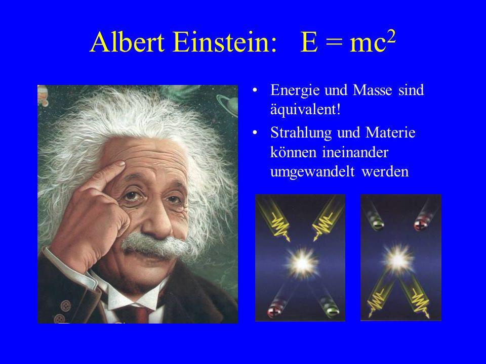 Albert Einstein: E = mc2 Energie und Masse sind äquivalent!