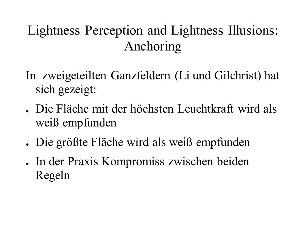 Lightness Perception and Lightness Illusions: Anchoring