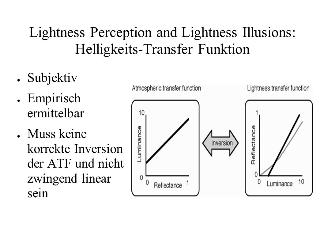 Lightness Perception and Lightness Illusions: Helligkeits-Transfer Funktion