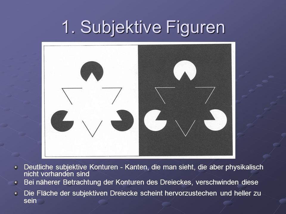 1. Subjektive Figuren Deutliche subjektive Konturen - Kanten, die man sieht, die aber physikalisch nicht vorhanden sind.