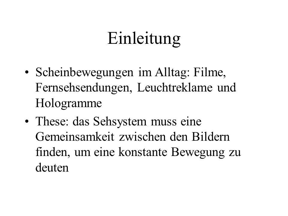 EinleitungScheinbewegungen im Alltag: Filme, Fernsehsendungen, Leuchtreklame und Hologramme.