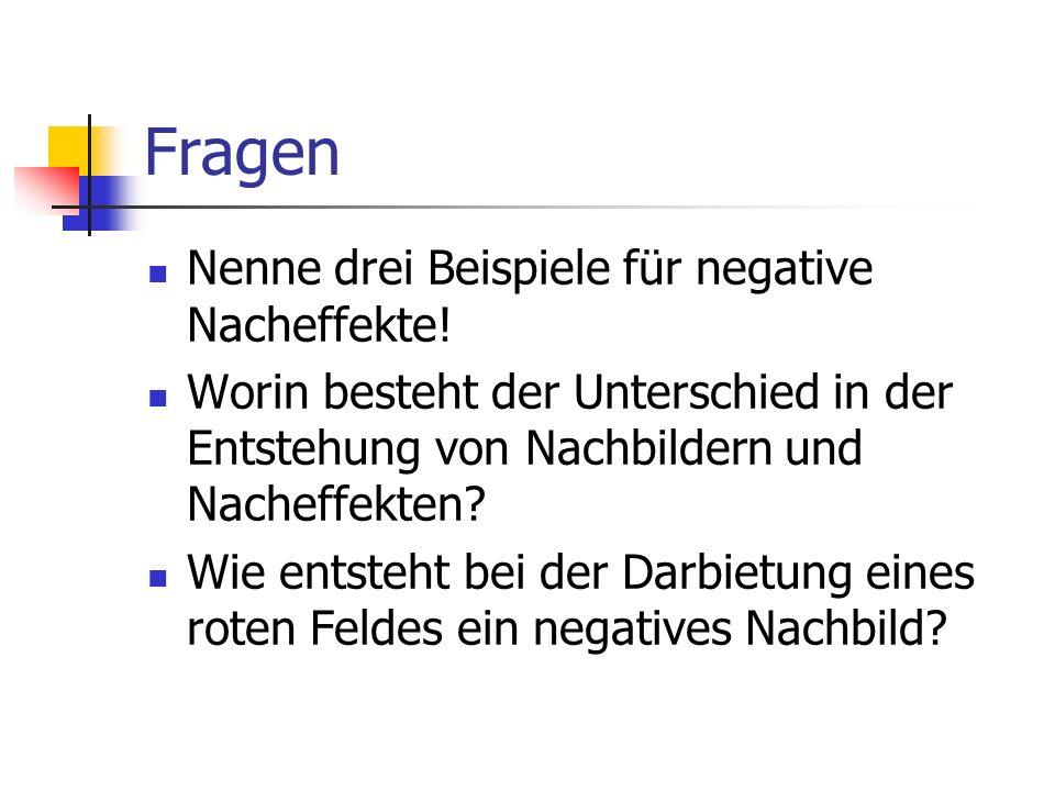 Fragen Nenne drei Beispiele für negative Nacheffekte!