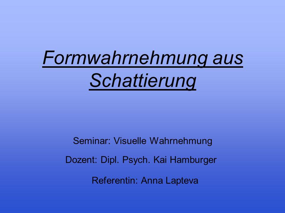 Formwahrnehmung aus Schattierung Seminar: Visuelle Wahrnehmung Dozent: Dipl.