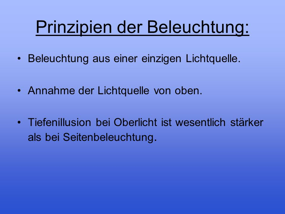Prinzipien der Beleuchtung: