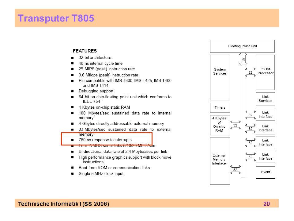Transputer T805 Technische Informatik I (SS 2006) 20.