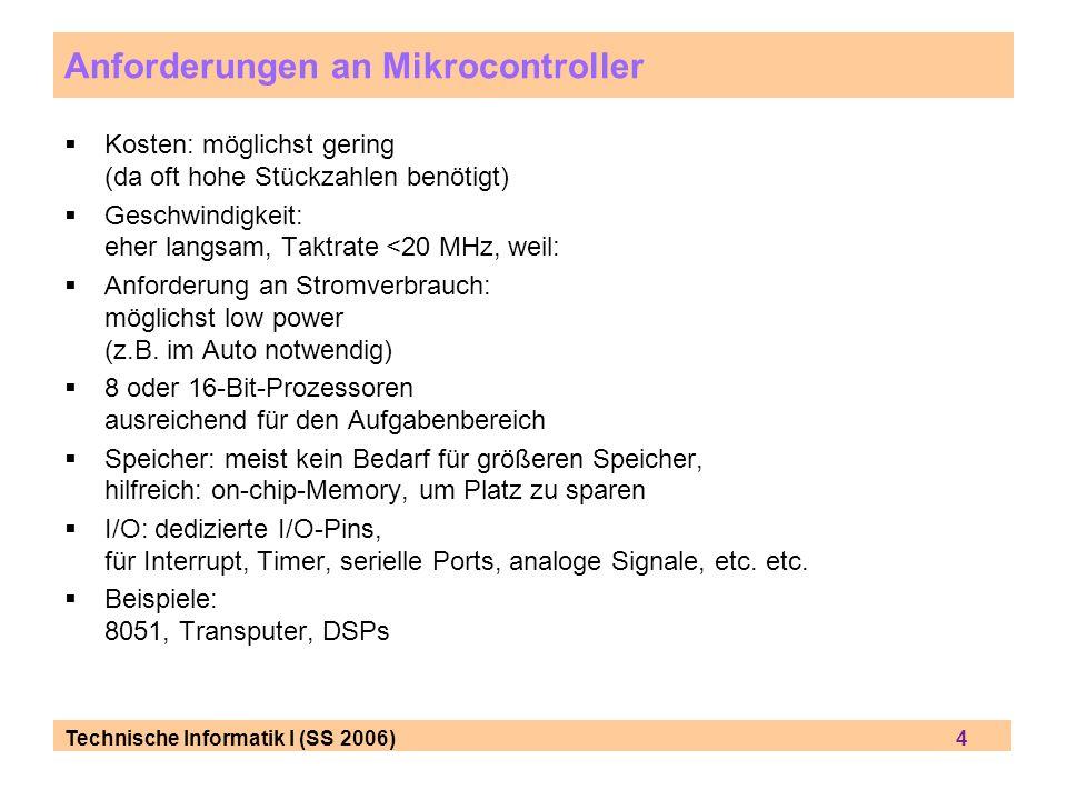 Anforderungen an Mikrocontroller