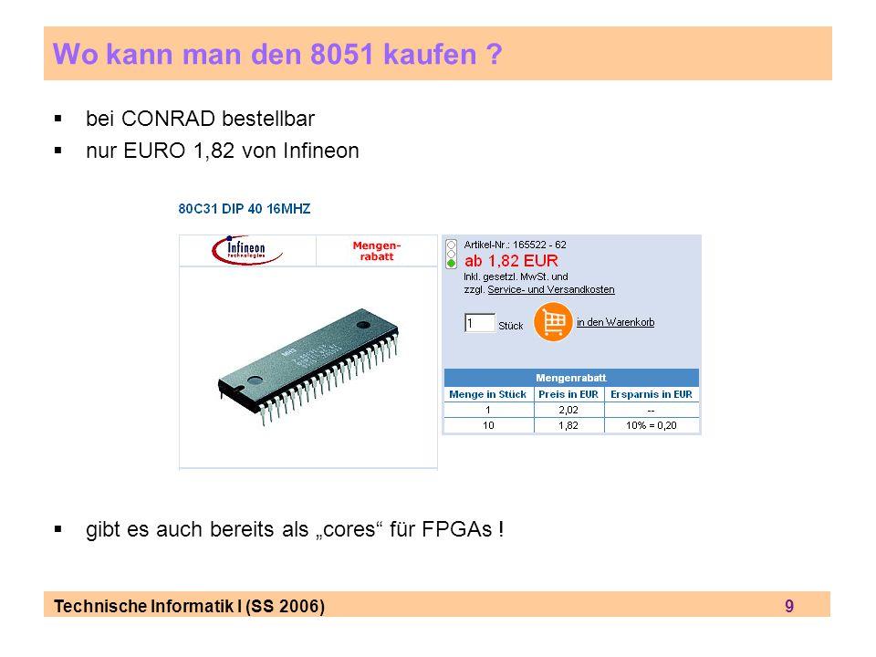 Wo kann man den 8051 kaufen bei CONRAD bestellbar