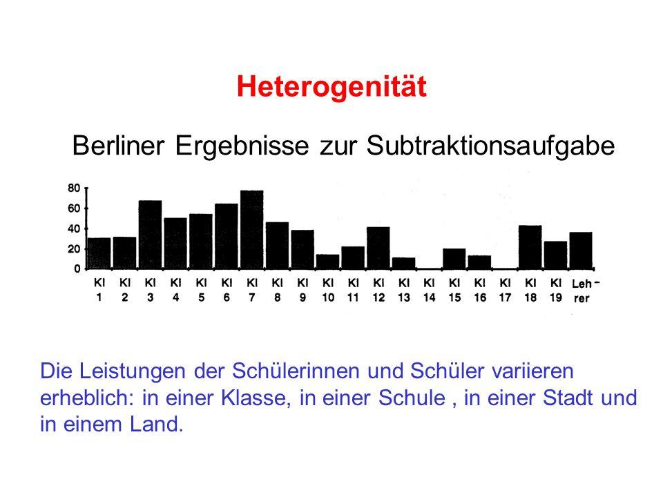 Heterogenität Berliner Ergebnisse zur Subtraktionsaufgabe
