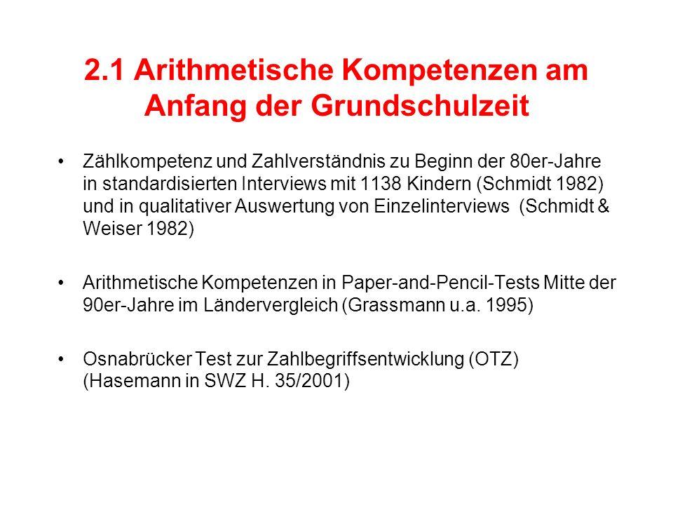 2.1 Arithmetische Kompetenzen am Anfang der Grundschulzeit
