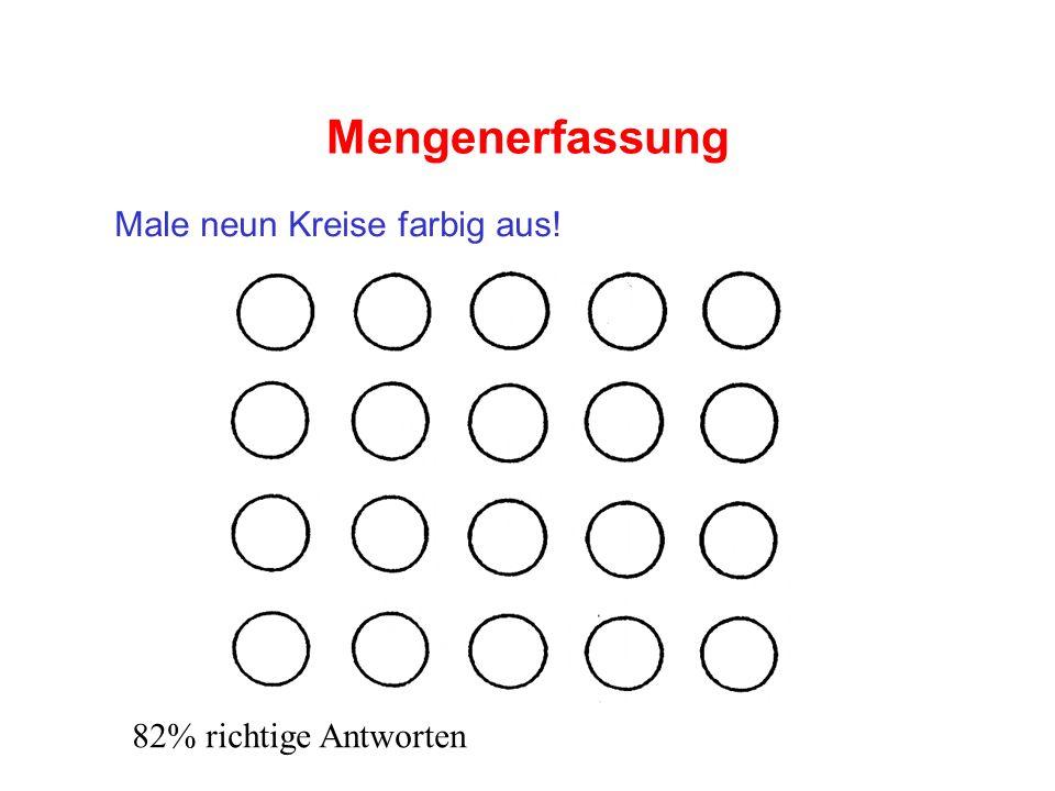 Mengenerfassung Male neun Kreise farbig aus! 82% richtige Antworten