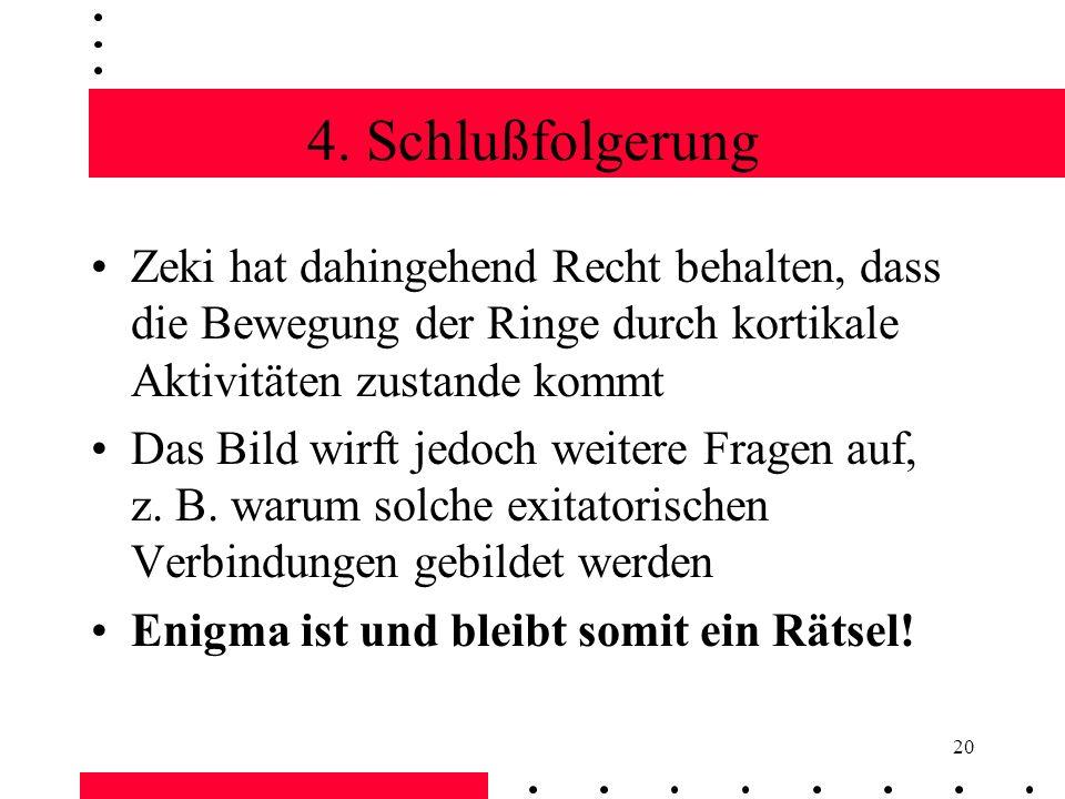 4. Schlußfolgerung Zeki hat dahingehend Recht behalten, dass die Bewegung der Ringe durch kortikale Aktivitäten zustande kommt.