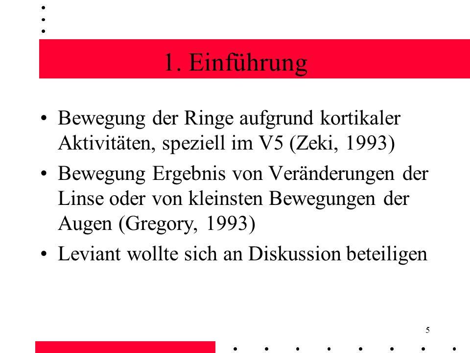 1. Einführung Bewegung der Ringe aufgrund kortikaler Aktivitäten, speziell im V5 (Zeki, 1993)