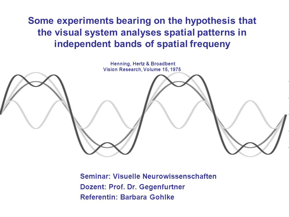 Some experiments bearing on the hypothesis that the visual system analyses spatial patterns in independent bands of spatial frequeny Henning, Hertz & Broadbent Vision Research, Volume 15, 1975