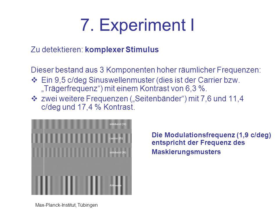 7. Experiment I Zu detektieren: komplexer Stimulus
