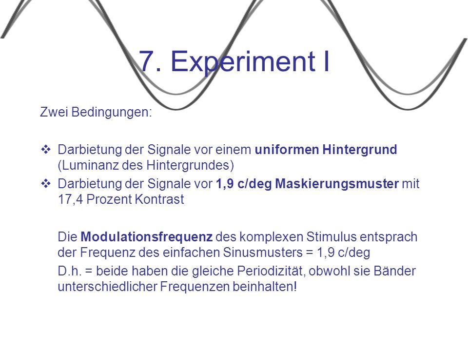 7. Experiment I Zwei Bedingungen: