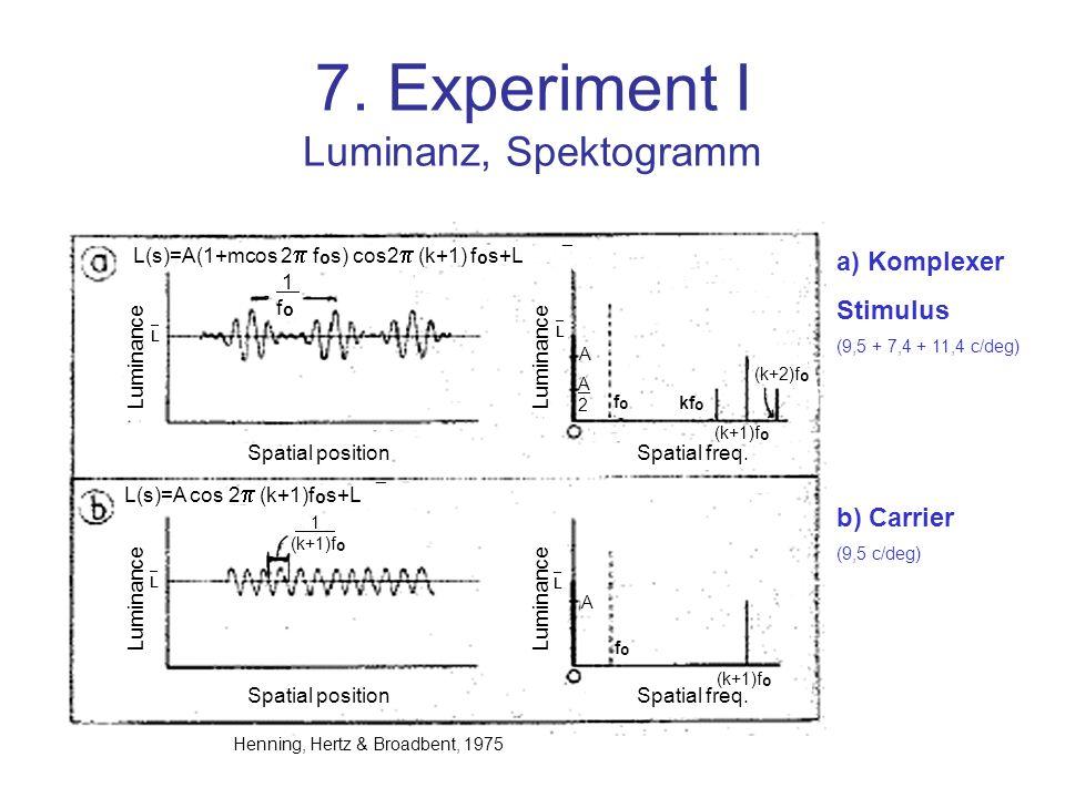 7. Experiment I Luminanz, Spektogramm