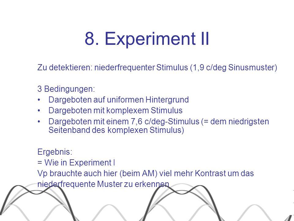 8. Experiment II Zu detektieren: niederfrequenter Stimulus (1,9 c/deg Sinusmuster) 3 Bedingungen: Dargeboten auf uniformen Hintergrund.