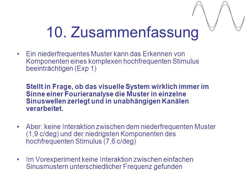 10. Zusammenfassung Ein niederfrequentes Muster kann das Erkennen von Komponenten eines komplexen hochfrequenten Stimulus beeinträchtigen (Exp 1)