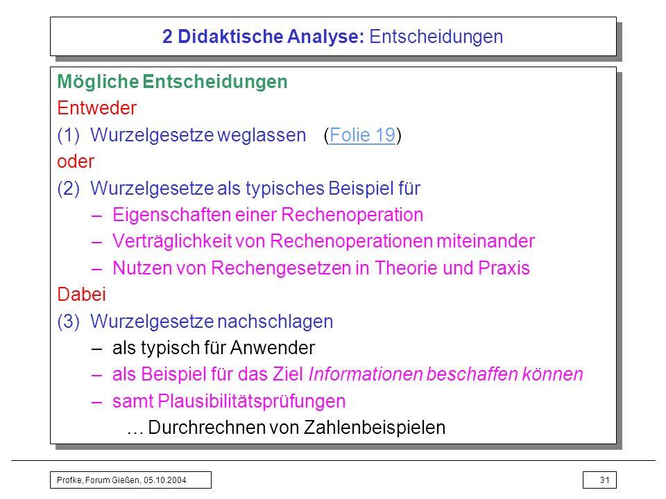 2 Didaktische Analyse: Entscheidungen