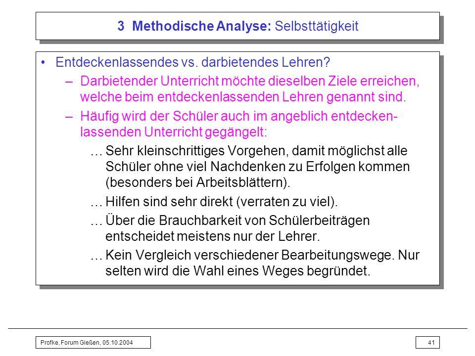 3 Methodische Analyse: Selbsttätigkeit