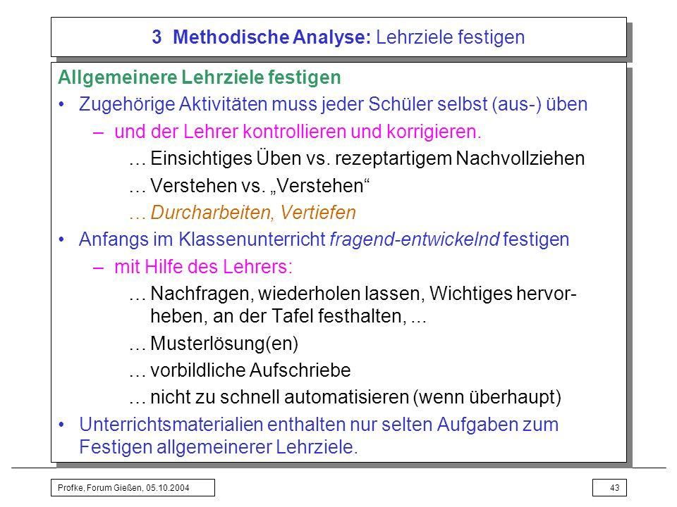 3 Methodische Analyse: Lehrziele festigen