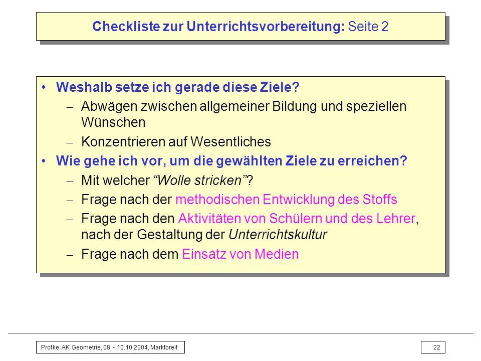 Checkliste zur Unterrichtsvorbereitung: Seite 2