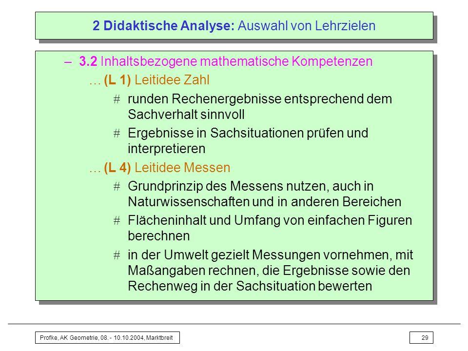 2 Didaktische Analyse: Auswahl von Lehrzielen