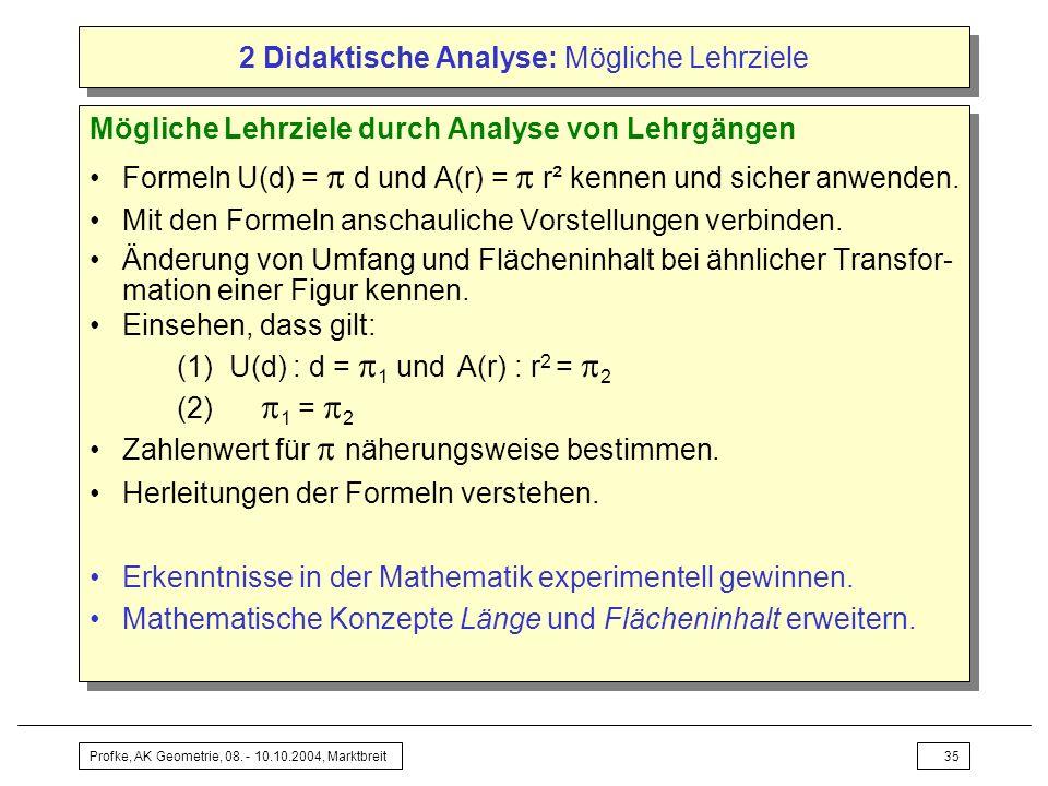2 Didaktische Analyse: Mögliche Lehrziele