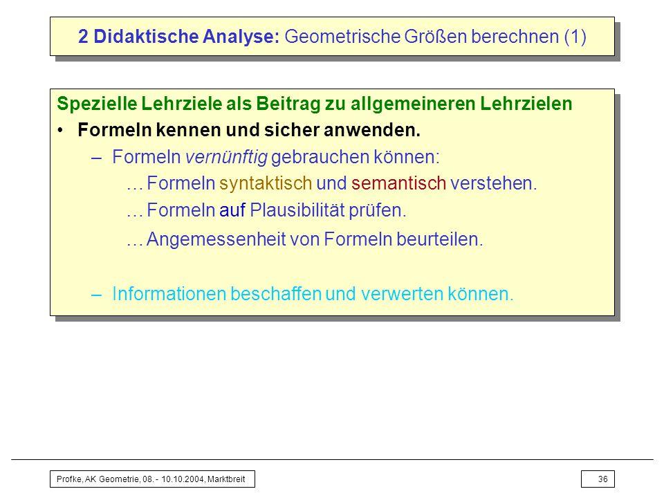 2 Didaktische Analyse: Geometrische Größen berechnen (1)