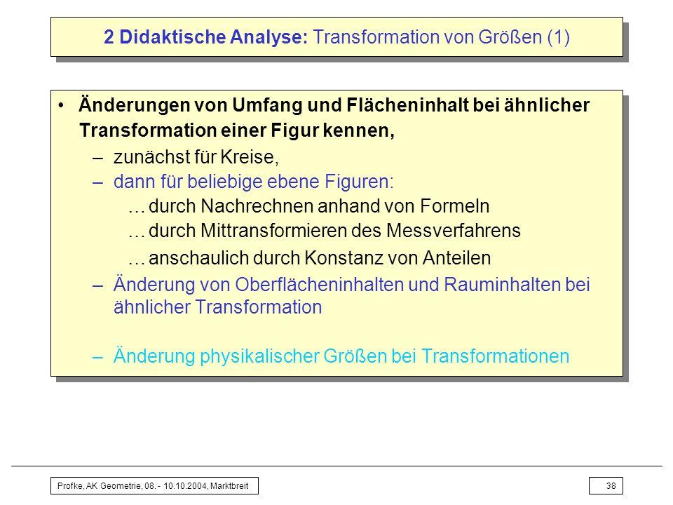 2 Didaktische Analyse: Transformation von Größen (1)
