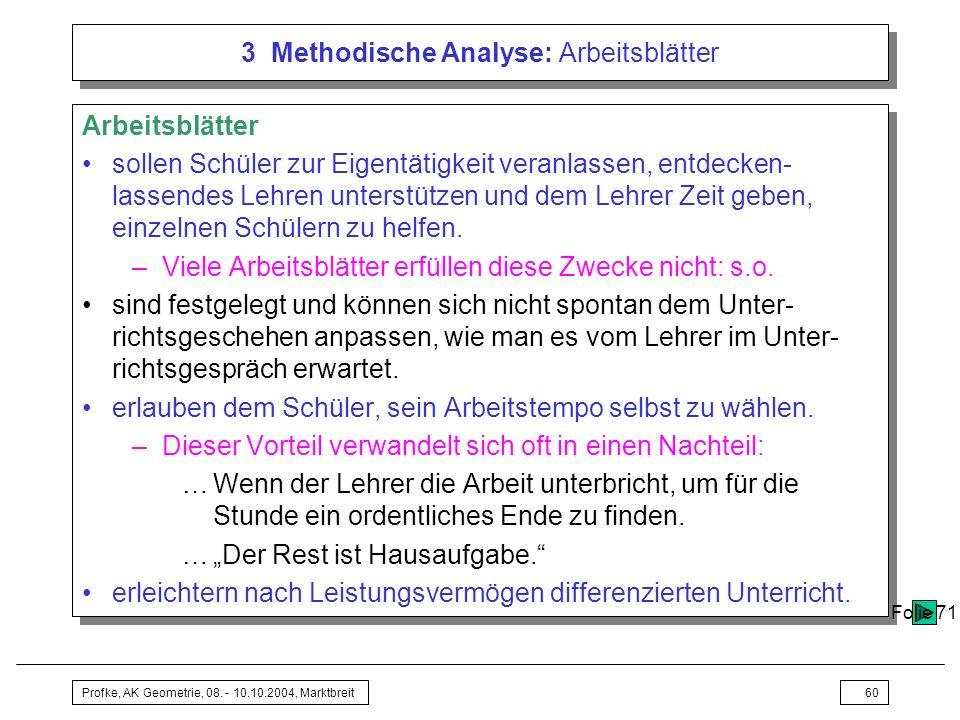 3 Methodische Analyse: Arbeitsblätter