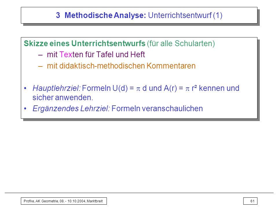 3 Methodische Analyse: Unterrichtsentwurf (1)