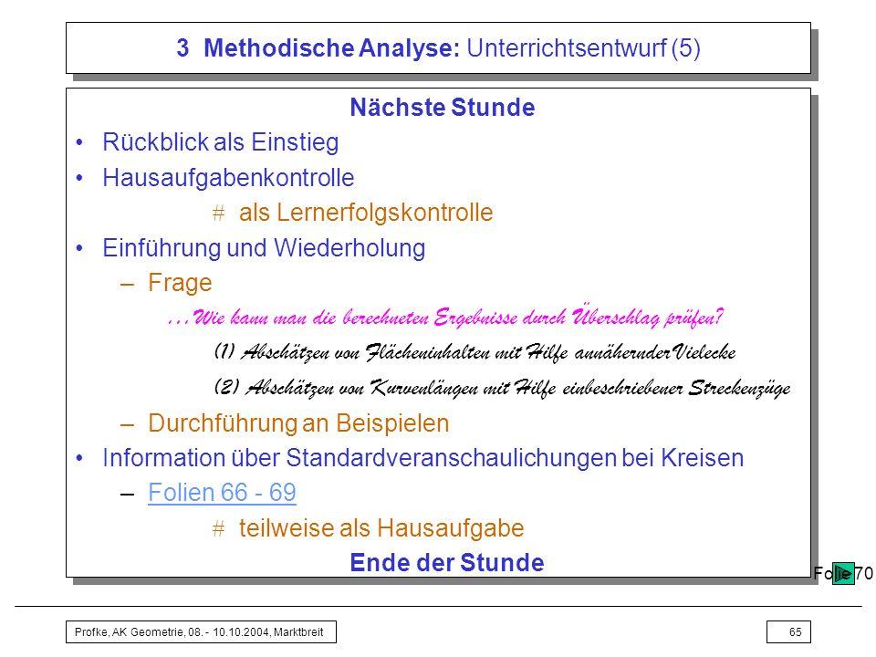3 Methodische Analyse: Unterrichtsentwurf (5)