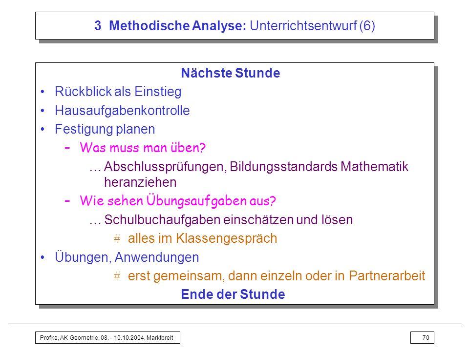 3 Methodische Analyse: Unterrichtsentwurf (6)
