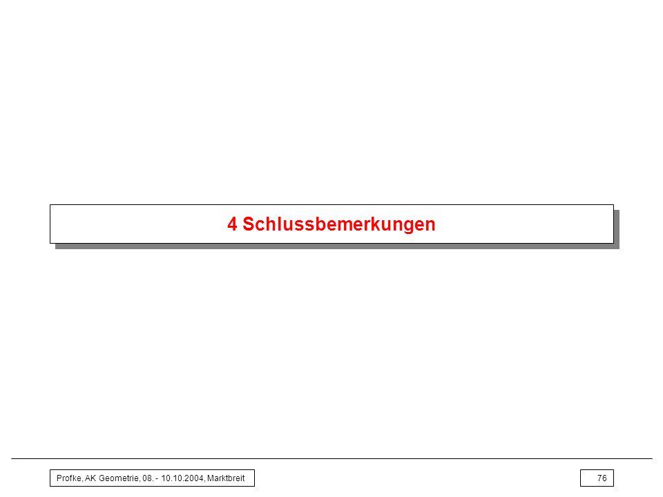 4 Schlussbemerkungen Profke, AK Geometrie, 08. - 10.10.2004, Marktbreit
