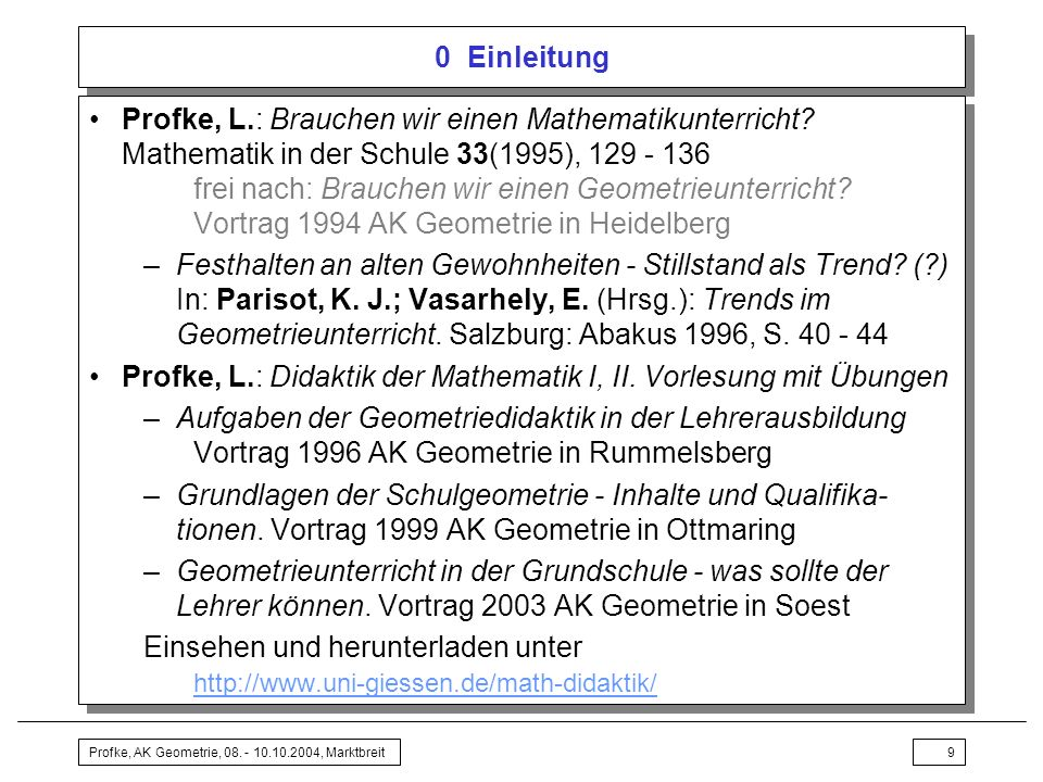 Profke, L.: Didaktik der Mathematik I, II. Vorlesung mit Übungen
