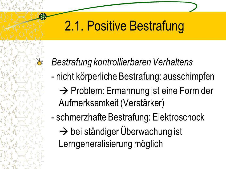 2.1. Positive Bestrafung Bestrafung kontrollierbaren Verhaltens