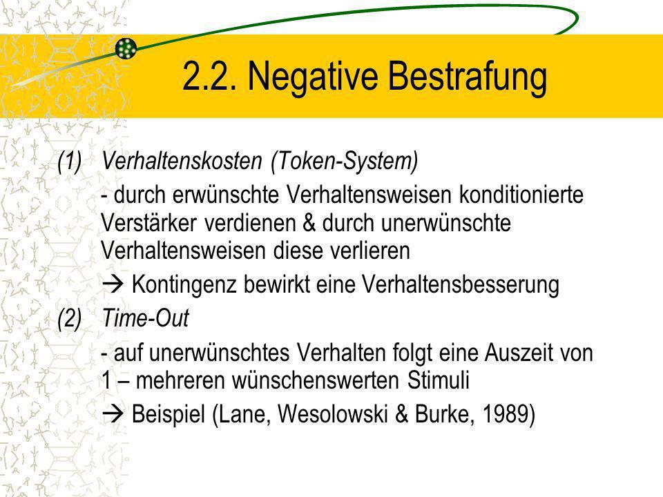 2.2. Negative Bestrafung Verhaltenskosten (Token-System)