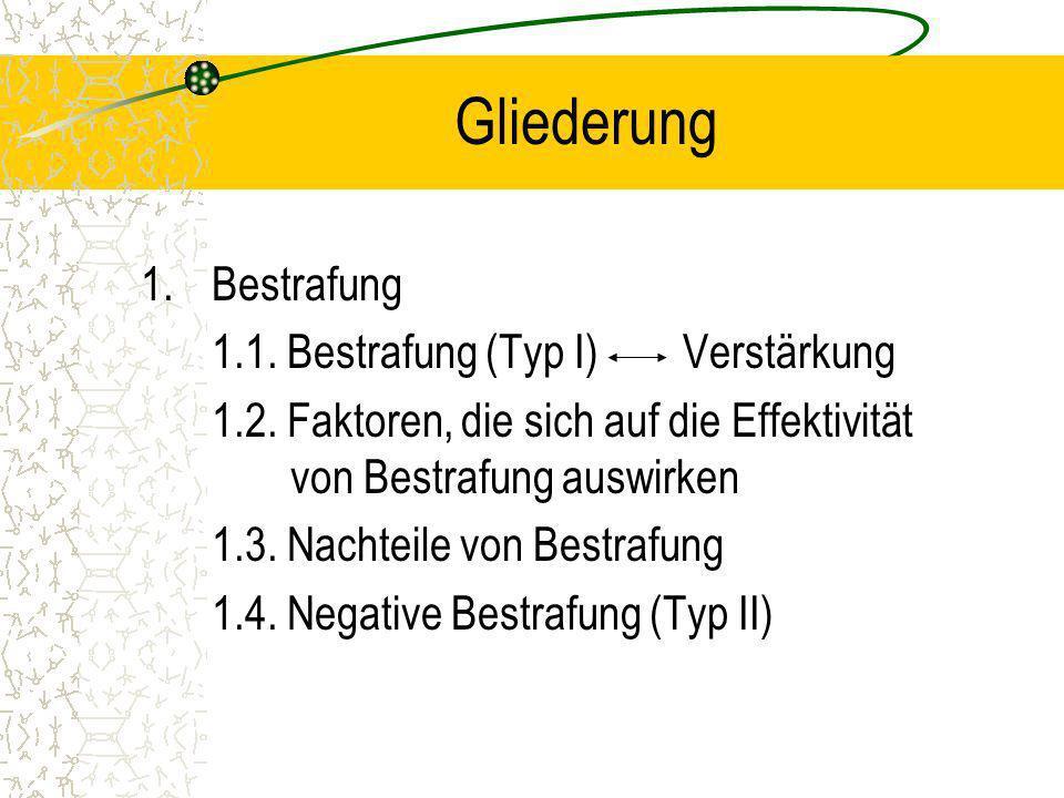 Gliederung Bestrafung 1.1. Bestrafung (Typ I) Verstärkung