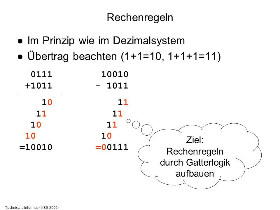 Im Prinzip wie im Dezimalsystem Übertrag beachten (1+1=10, 1+1+1=11)