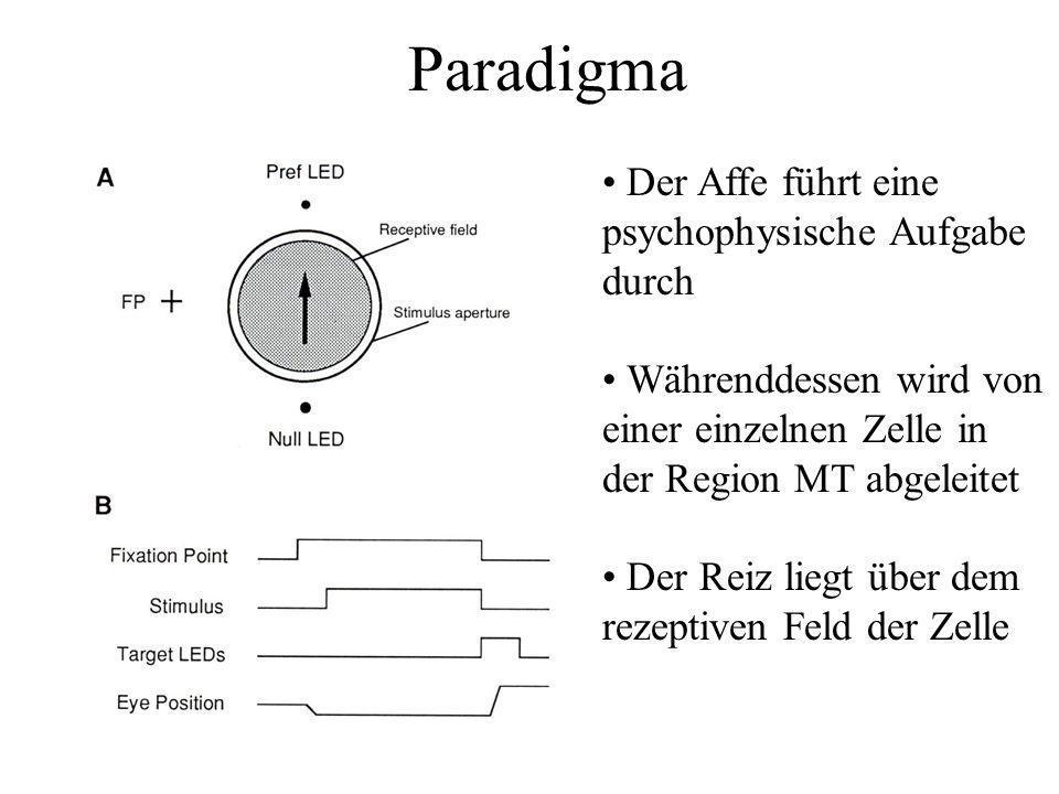 Paradigma Der Affe führt eine psychophysische Aufgabe durch