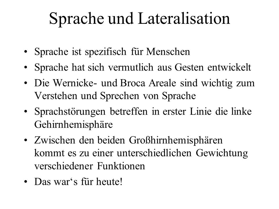 Sprache und Lateralisation