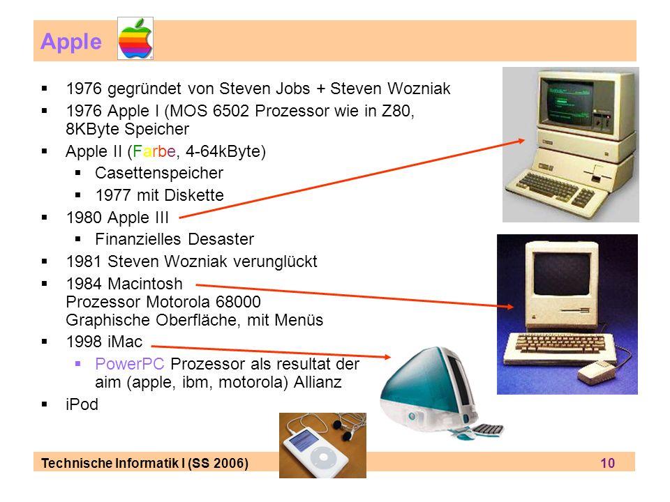 Apple 1976 gegründet von Steven Jobs + Steven Wozniak