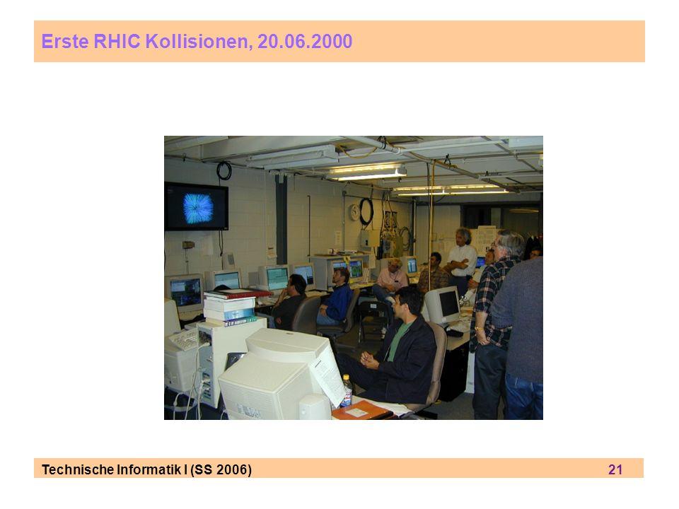 Erste RHIC Kollisionen, 20.06.2000