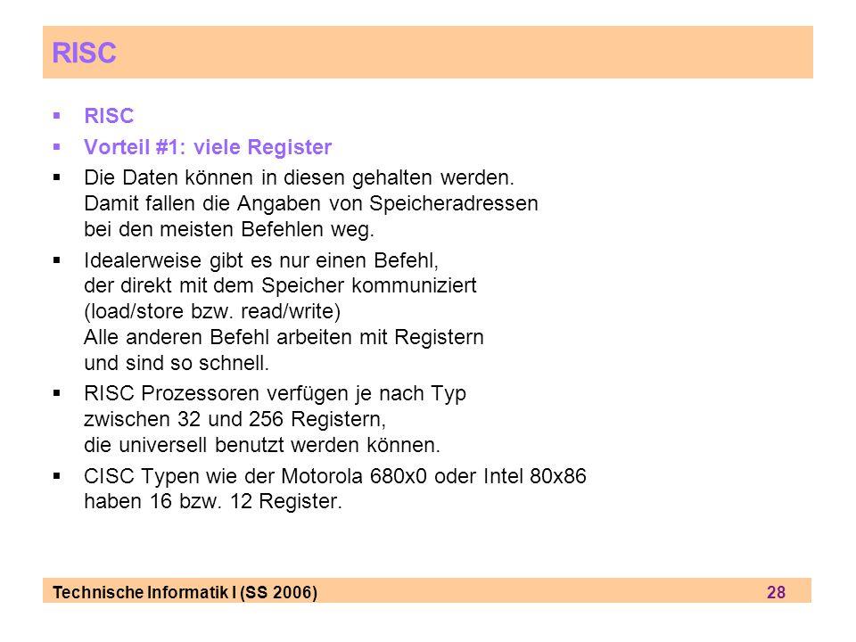 RISC RISC Vorteil #1: viele Register