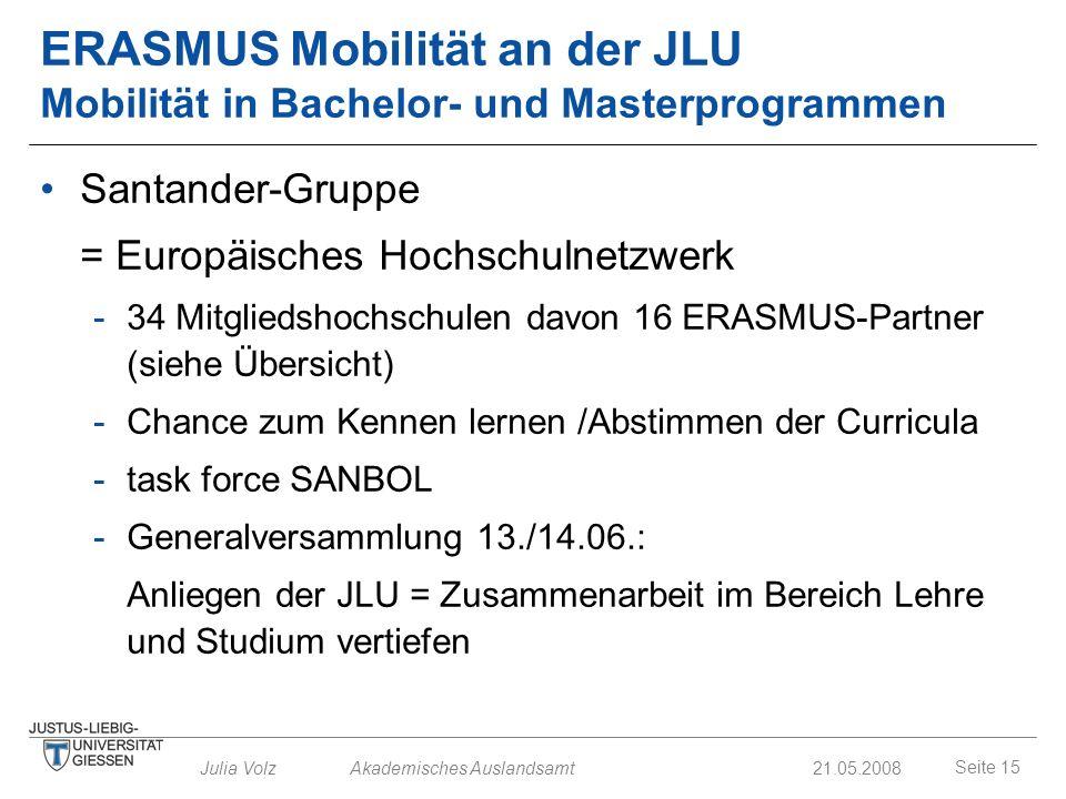 ERASMUS Mobilität an der JLU Mobilität in Bachelor- und Masterprogrammen