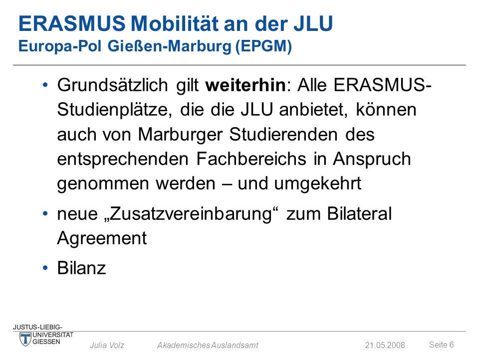 ERASMUS Mobilität an der JLU Europa-Pol Gießen-Marburg (EPGM)